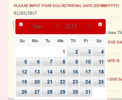 IVF pregnancy due date calculator date select