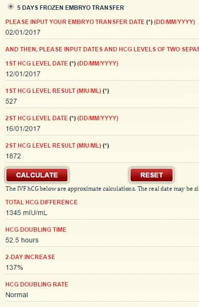 IVF hCG calculator: IVF beta hcg levels including 3 days and 5 day FET