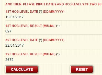 hCG test date and beta hCG level input
